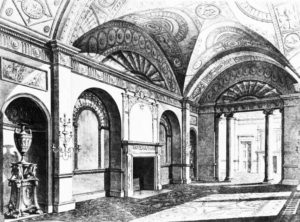 Two point perspective, interior of Dercy House by Robert Adam, 1777